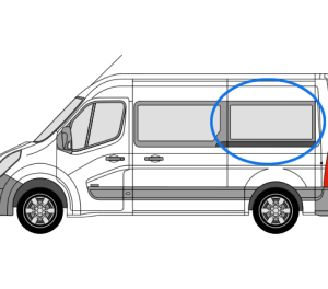 Renault Master 2010> N/S/R Fixed Window in Privacy Tint (MWB)