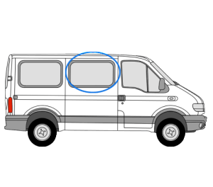 Renault Master 1997 > 2010 O/S/F Fixed Window in Privacy Tint (SWB,MWB,LWB)