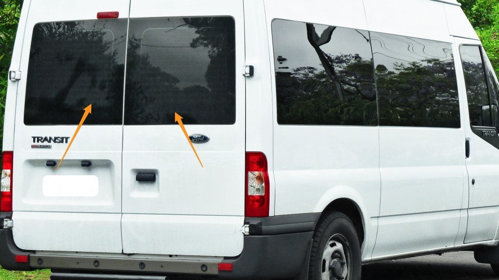 Ford Transit Back Door Pair Of Windows In Privacy Tint